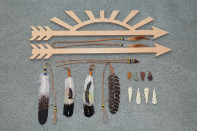 Arrow of light Plaques, Coup feathers, and Painted feathers.